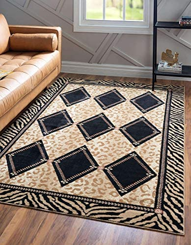 Unique Loom Wildlife Collection Leopard Geometric Border Animal Print Light Brown Area Rug 9 0 x 12 0