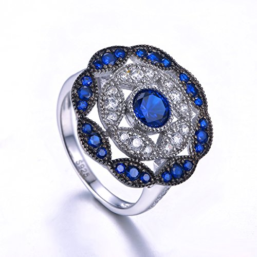 Jrose 925 Sterling Silver Vintage Created Blue Sapphire Cluster Cocktail Ring for Women by jrose (Image #2)