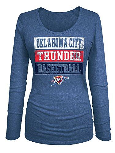 NBA Oklahoma City Thunder Women's Triblend Jersey Long Sleeve V Neck Tee, Large, Blue