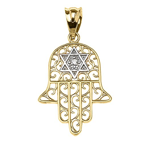 Star Of David Yellow Necklace - 14k Yellow Gold Hamsa Hand With Star of David Diamond centered Pendant