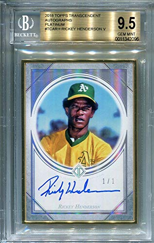 (Ricky Henderson 2018 Topps Transcendent Autographed Card Platinum 1/1 - BGS 9.5)