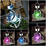Solar Powered 7 Colors Changing Wind Chime Courtyard Hanging Moving Rotating LED Light