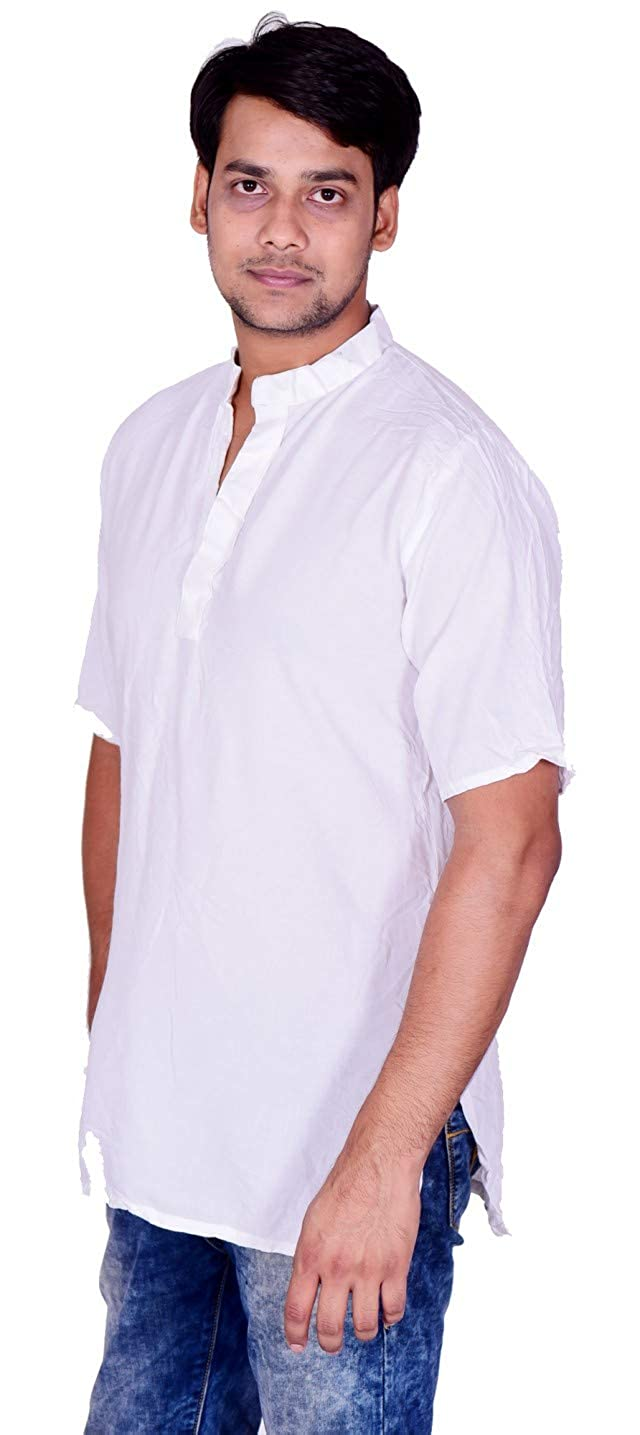 Lakkar Haveli Mens Indian Tank Top Camis Shirt Kurta Solid White Color Tunic 100/% Cotton Short Sleeve Big Tall