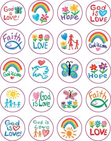 Carson Dellosa 5239 Kid Drawn Christian Faith Circle Shape Stickers, 240 stickers (2pk of 120 each) - Kid Drawn Stickers