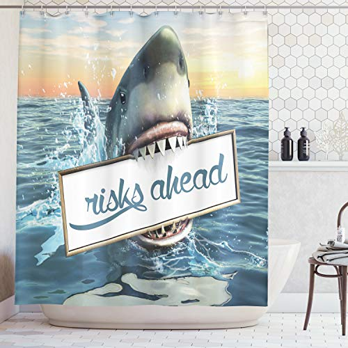 Artsy Shower Curtain Great Shark Sea Decorations Fun Ocean Animals Scary Accessories for Men Cave Ideas Digital Prints Polyester Fabric Funny White Yellow Orange Gray Blue Teal, Blue Teal -
