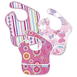 Bumkins 3 Pack Waterproof SuperBib (Ribbons/Butterfly/Pink Fizz)