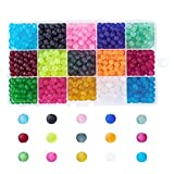 Kissitty 1 Box 15 Colors Transparent Frosted Glass Beads Round 6mm with Container for DIY Jewelry Making