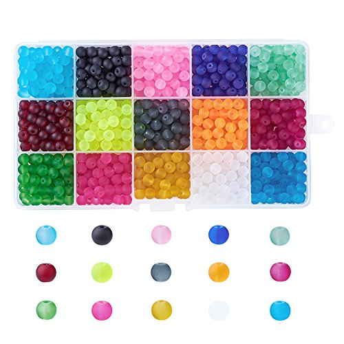 Kissitty About 600pcs/box 15 Colors Transparent Frosted Glass Beads Round 6mm with Container for DIY Jewelry Making -