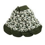 DOGGIE DESIGN Non-Skid Dog Socks (Green Camo, L)