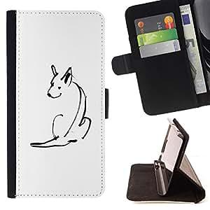 /Skull Market/ - MINIMALIST CUTE DOG SKETCH PET WHITE For Samsung Galaxy S5 V SM-G900 - Caja de la carpeta del tir???¡¯???€????€???????
