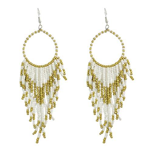 Tribal Dangle Fringe Tassel Bead & Hoop Earrings Native American Style by Pashal (White)
