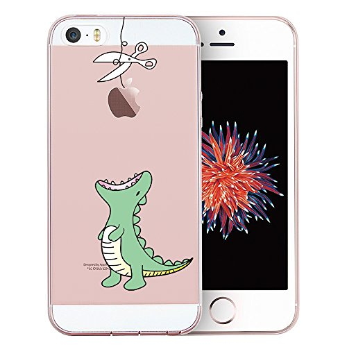 iPhone SE Case, iPhone 5S Case, iPhone 5 Case, Doramifer Funny Series Protective Case [Anti-Slip] [Good Grip] [Ultra Thin] with Aesthetic 3D Print Soft Back Cover for iPhone SE/5S/5 (Little Dinosaur)