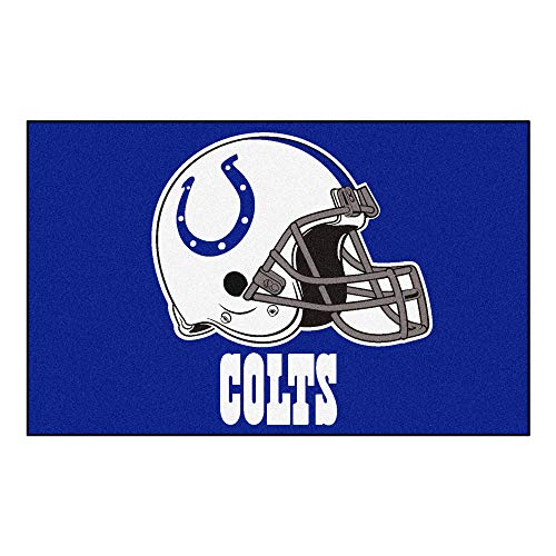 MISC 5'x8' NFL Colts Mat Sports Football Area Rug Team Logo Printed Large Mat Floor Carpet Bedroom Living Room Bathroom Home Decor Athletic Game Fans Gift Nonslip Backing Soft Nylon, Blue White]()
