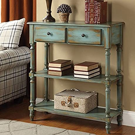 1PerfectChoice Laney Antique Green Console Sofa Table Hallway Side Stand Storage Drawer Shelves