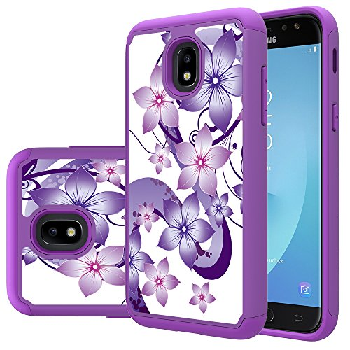 Galaxy J7 Aero Case,Galaxy J7 Top,J7 2018,J7 Crown,J7 Refine,J7 Aura,J7 Eon,J7 Star Case,Yiakeng Shockproof Drop Protection Lovely decal Phone Cases Cover for Samsung J737V,J737T (Purpel Flower)