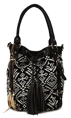 Scarleton Striped Pattern Jacquard Shoulder Bag H13820102 - Black/Off White (Black Jacquard Shoulder Bag)