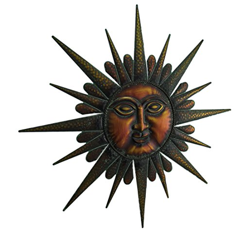 Metal Wall Sculptures 27 Inch Diameter Copper Finish Sun Face Wall Hanging 26.25 X 26.25 X 0.13 Inches Copper Model # 318-72203 Face Copper Wall Sculpture