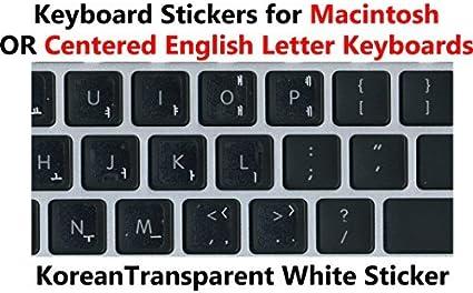Pegatinas coreanas para teclado con letras blancas sobre fondo transparente para Mac/teclado de Windows centrado