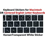 Korean Keyboard Stickers with White Lettering on Transparent Background for Mac / Centered Windows Keyboard