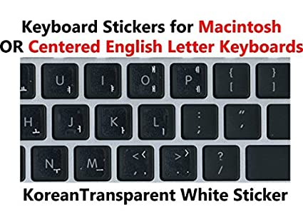 00547aa15f7e Korean Keyboard Stickers with White Lettering on Transparent Background for  Mac / Centered Windows Keyboard