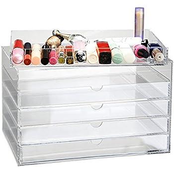 CO-Z Clear Acrylic Makeup Cosmetics Organizer Jewelry Display 5 Drawers Multipurpose Box