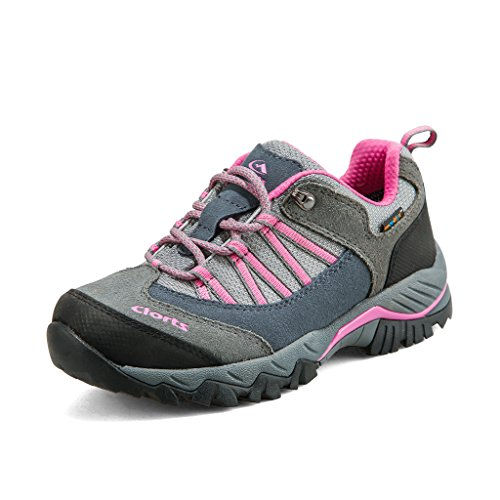 Clorts Women's Suede Leather Waterproof Hiking Shoe Outdoor Backpacking Trekking Shoes Grey HKL-831C US8.5