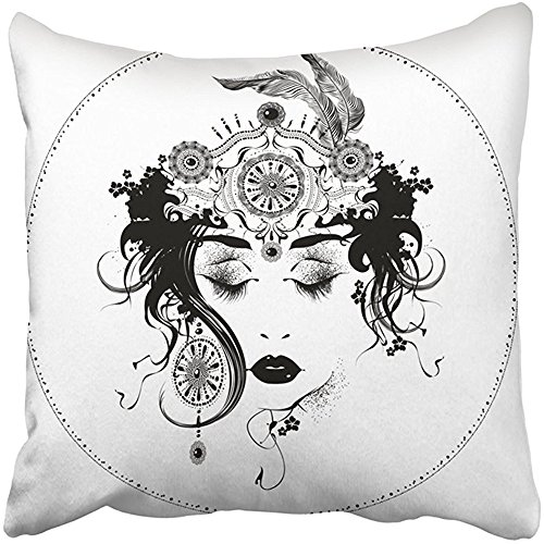 Throw Pillow Cover 18X18 Inch Polyester Black Woman Nouveau Styled Girl White Jewelry Artistic Face Lady Necklace Abstract Antique Decorative Pillowcase Two Sides Square Print For Home (Antique Faces Necklace)