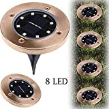 Allywit Solar Ground Lights, 10Pcs Underground Sensing Landscape Lights, 8LED Waterproof Solar Powered Disk Flood Lights lamp for Pathway Outdoor in-Ground (10pcs)