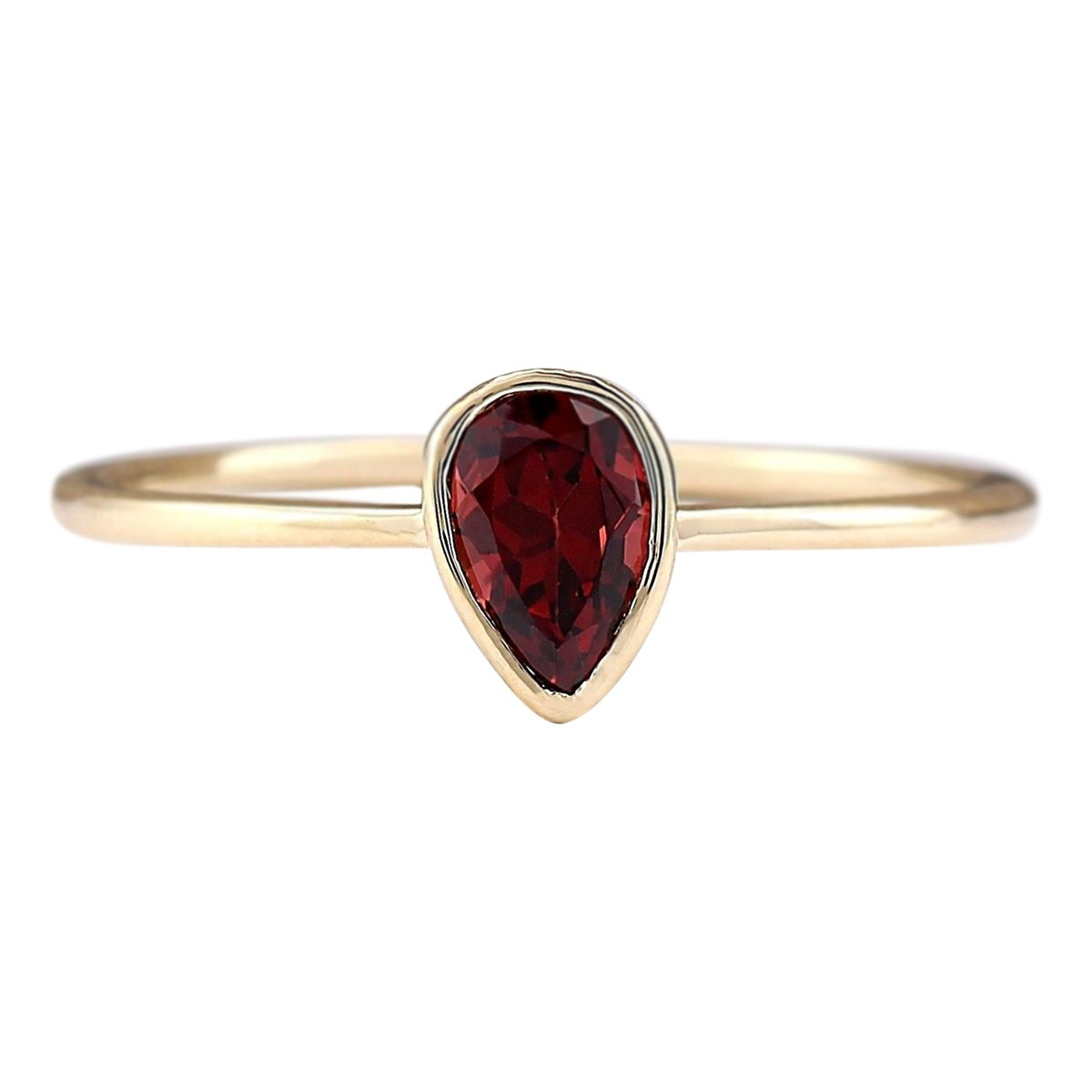 0.5 Carat Natural Red Garnet 14K Yellow Gold Solitaire Promise Ring for Women