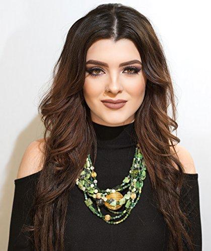 Multi Strand Green Gemstone & Gold - The Aurelia Necklace Handmade Designer Jewelry Agate Jade Jasper Peridot Gold