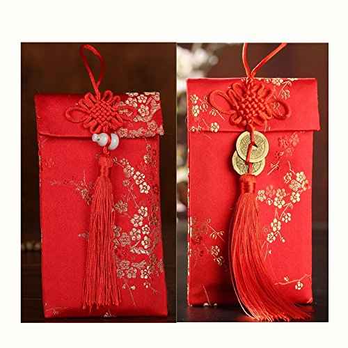 Red Envelope Gift - LASLU HongBao Chinese Element Festive Silk Red Envelopes Gift Card Wedding Red Money Pockets (2PCS, 9.817cm)
