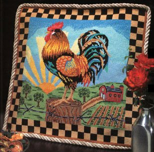 Sunrise Rooster Pillow - Needlepoint Kit
