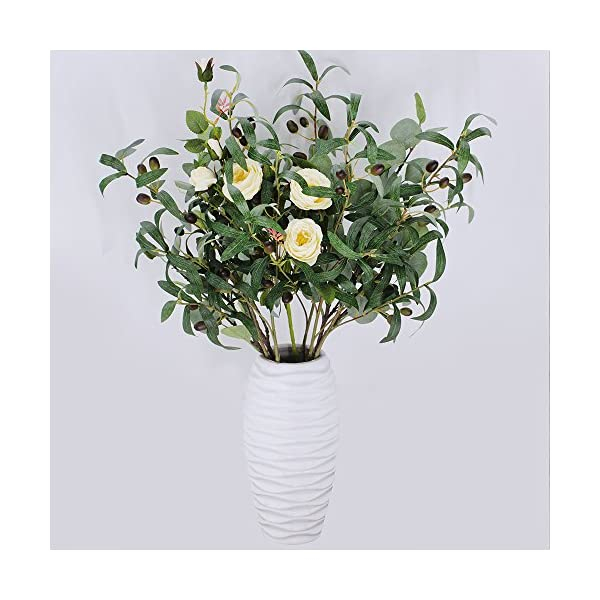 Supla-5-Pack-Artificial-Olive-Branch-Spray-Plants-Houseplant-Olives-Fruit-Plants-Greenery-UV-Resistant-Plants-283-Tall-for-Olive-Wreath-Indoor-Outdoor-Wedding-Bouquets-Floral-Arrangements