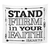 TOMPOP Tapestry Stand Firm in Your Faith Christian Bible Scripture Design with Arrow Border From Isaiah on White Home Decor Wall Hanging for Living Room Bedroom Dorm 50x60 Inches