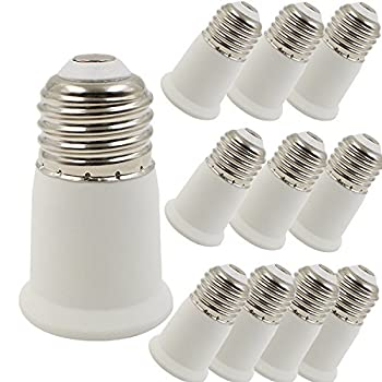 SooFoo 10 Pack Bulb Converter , Light Socket Extender Adapter E26/E27 to E26/E27 Durable Bulb Socket Extension, Fits LED/CFL Light Bulbs (10 Pack)
