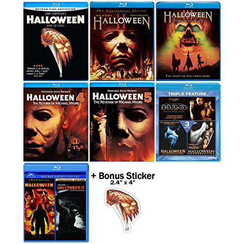 Halloween: Ultimate 10 Movie Collection - Complete Original + Rob Zombie Remake Blu-ray Series + Bonus Sticker