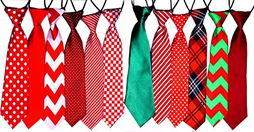Yagopet 10pcs/pack Big Ties For Chrismtas Large Dog Ties Xmas Dog Large Neckties 22inches Bow Ties Cat Dog Ties for Christmas Festival Dog Collar Dog Grooming ()
