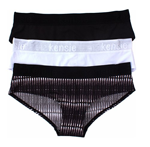 Stripe Shadow Girls Mesh (kensie Womens 3 Pack Soft and Comfortable Wide Mesh Waistband Boyleg Panties Black,White,Brown Stripes Medium)