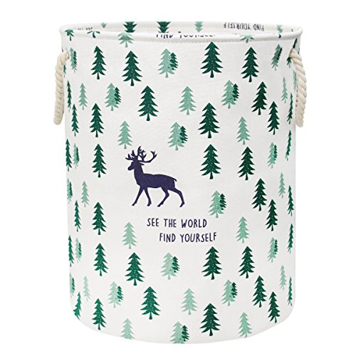 Jacone Large-Size Cute Deer and Trees Pattern Design Laundry Hamper Cotton Fabric Cylindric Storage Basket with Rope Handles, Decorative and Convenient for Kids Bedroom by Jacone