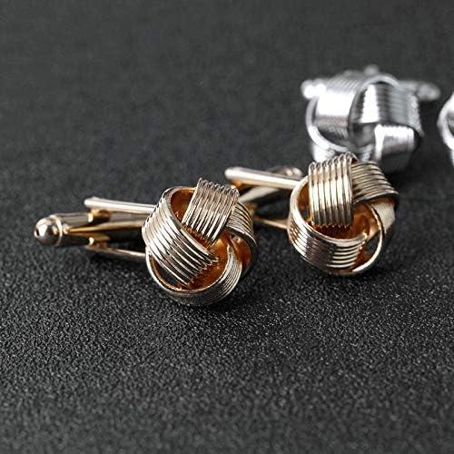 DGSP メンズシャツカフスシルバーゴールドメッキユニークなファッションビジネスの結婚式のためのノットカフス (Color : Gold)