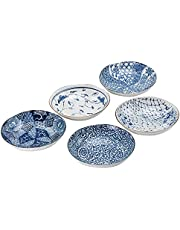 Tikusan Ceramic Serving Plate Set of 5 Blue and White 8.3 inch Made in Japan Salad Plates Floral Dinner Shallow Plates Serving Bread Appetizer Dessert Snack