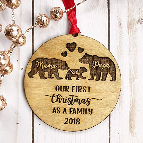 Mama Papa Baby Bear Christmas Ornament Our First Christmas as a Family 2018 Rustic Wooden Wood Engraved Ornament ()