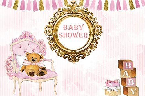 8x6.5ft Pink Girls Room Baby Shower Photography Background Backdrop Pink Chair Toy Bear Wood Blocks Gift Boxes Pink Stripes Ita Girl Its a Princess Vinyl Photo Studio Props