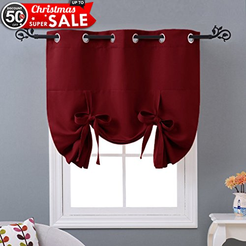 NICETOWN Thermal Insulated Burgundy Blackout Curtain - Christmas Curtain Xmas Home Decor Tie Up Shade for Kitchen Window (Grommet Top Panel, 46