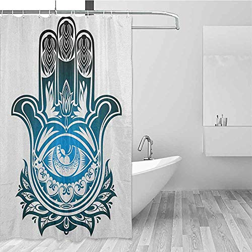 SONGDAYONE Home Shower Curtain Hamsa Evil Eye Inside The Hand of Fatima Spiritual Esoteric Protection Ancient Icon Private Bathing Experience Black Blue White W72 xL84