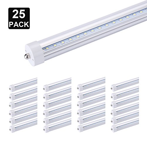 Price comparison product image FALANFA T8 LED Light Tube, 8ft, 45W (100W equivalent), 6000K (Super Bright White), Clear Cover, Dual-Ended Power, Instant-On (Pack of 25)