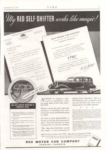 (Reo Motor Car Company Self-Shifter ad 1933)