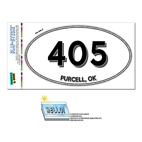 Price comparison product image Graphics and More Area Code Euro Oval Window Laminated Sticker 405 Oklahoma OK Mustang - Yukon - Purcell