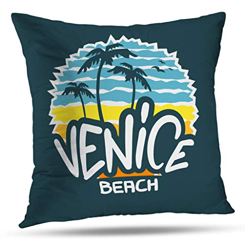 Kutita California West Coast Decorative Pillow Covers, Venice Beach California Sign Lettering Modern Calligraphy Shirt Sticker Throw Pillow Decor Bedroom Livingroom Sofa 18X18 inch ()