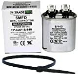 TradePro 5 uf MFD 370 or 440 Volt Fan Motor Run Oval Capacitor Kit TP-CAP-5/440 Condenser for Air Handler Straight Cool/Heat Pump Air Conditioner and Zip Tie